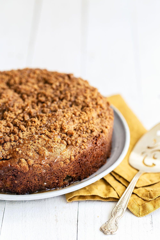 Caramel apple crumb cake on platter