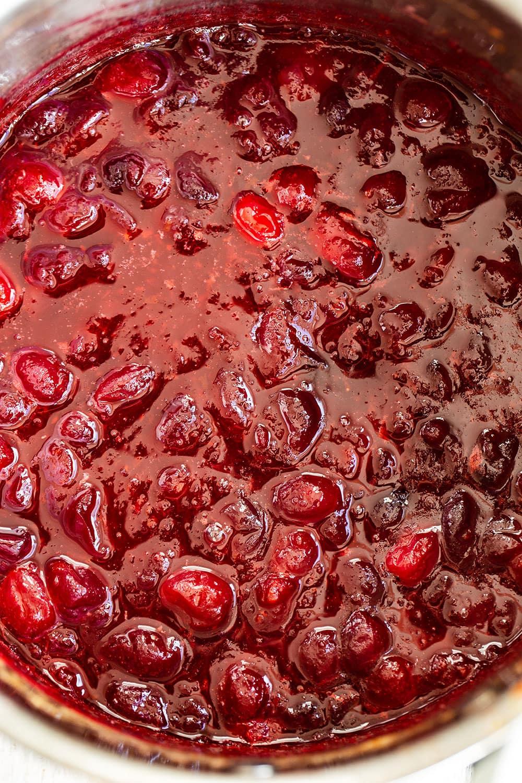 Fresh cranberry sauce in the saucepan