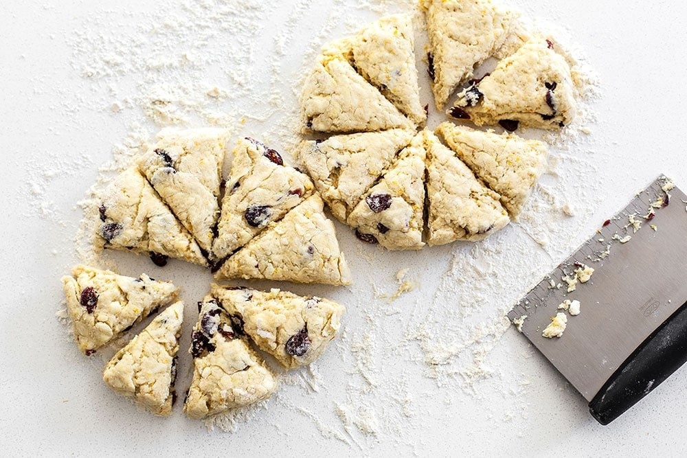 Cutting scones into triangles
