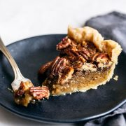 Slice of homemade Pecan Pie on a plate