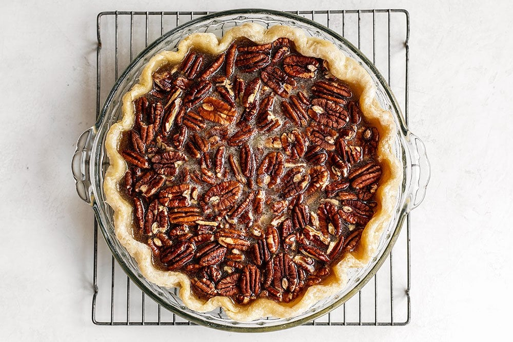 Pecan pie ready to be baked in the oven