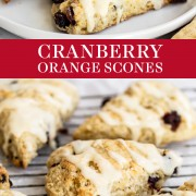 Cranberry Orange Scones are flaky and buttery with tangy buttermilk, dried cranberries, fresh orange zest, and a simple orange icing. Freezer friendly! Easy homemade, from-scratch recipe that tastes like a traditional English scone!