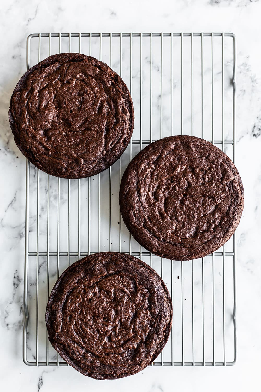 Three 6 inch brownie cake layers