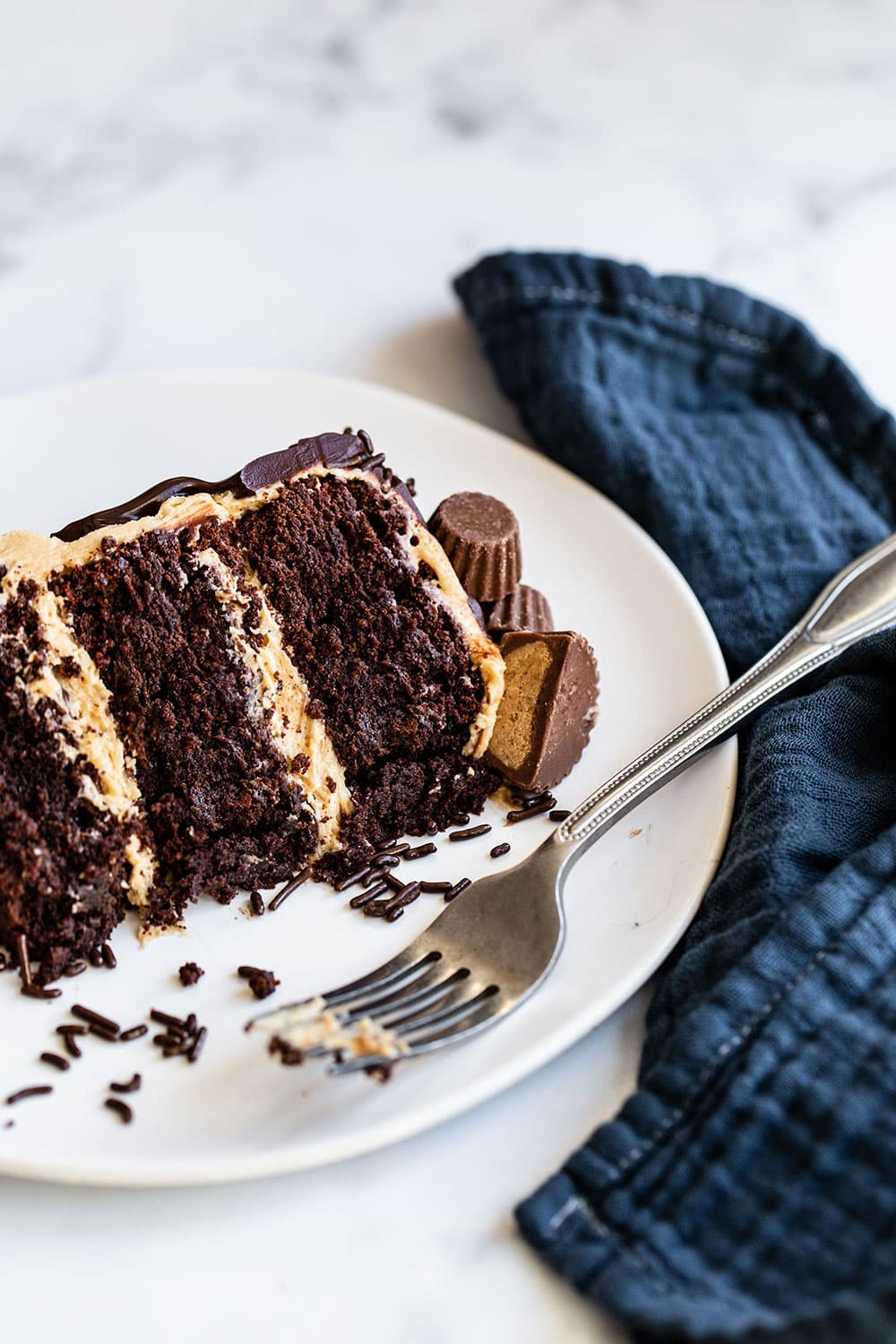 Slice of chocolate brownie cake with peanut butter buttercream