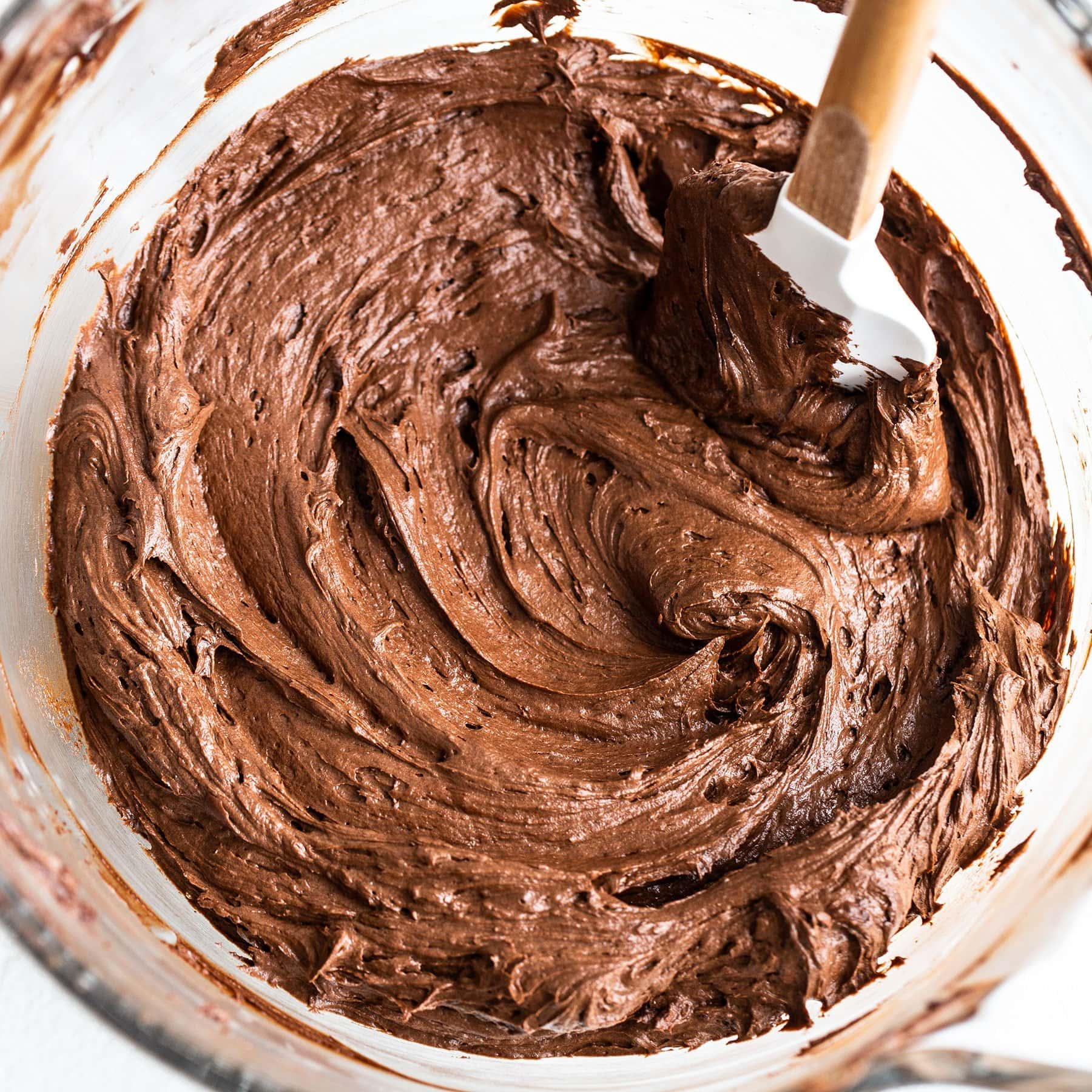 Mixing bowl with silky chocolate buttercream frosting