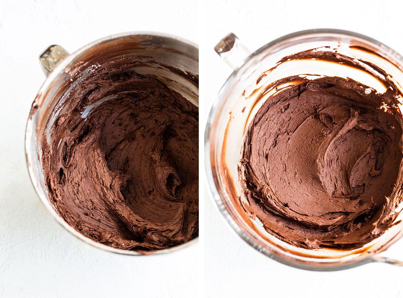 Collage: image on left shows barely beaten frosting and image on right shows frosting beaten for several minutes