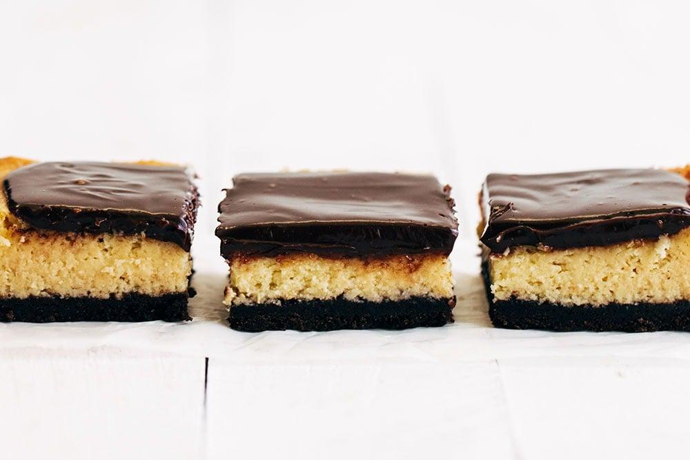 Row of Bailey's Irish Cream Cheesecake Bars cut into squares