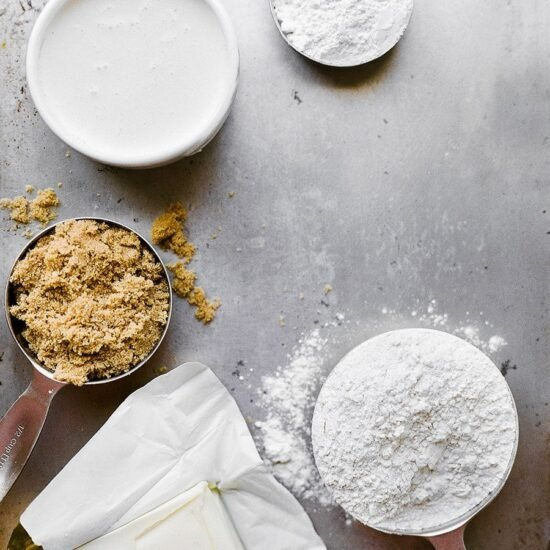 Flour, sugar, and shortening on a baking tray