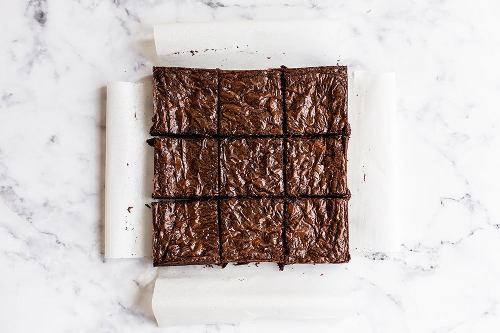 browned butter fudge brownies cut into squares