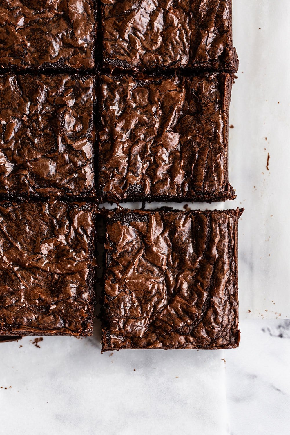 Brown butter brownies cut into squares