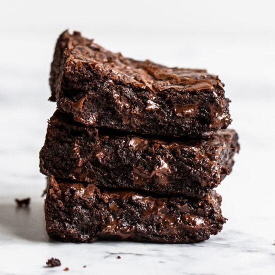 stack of gooey brown butter brownies