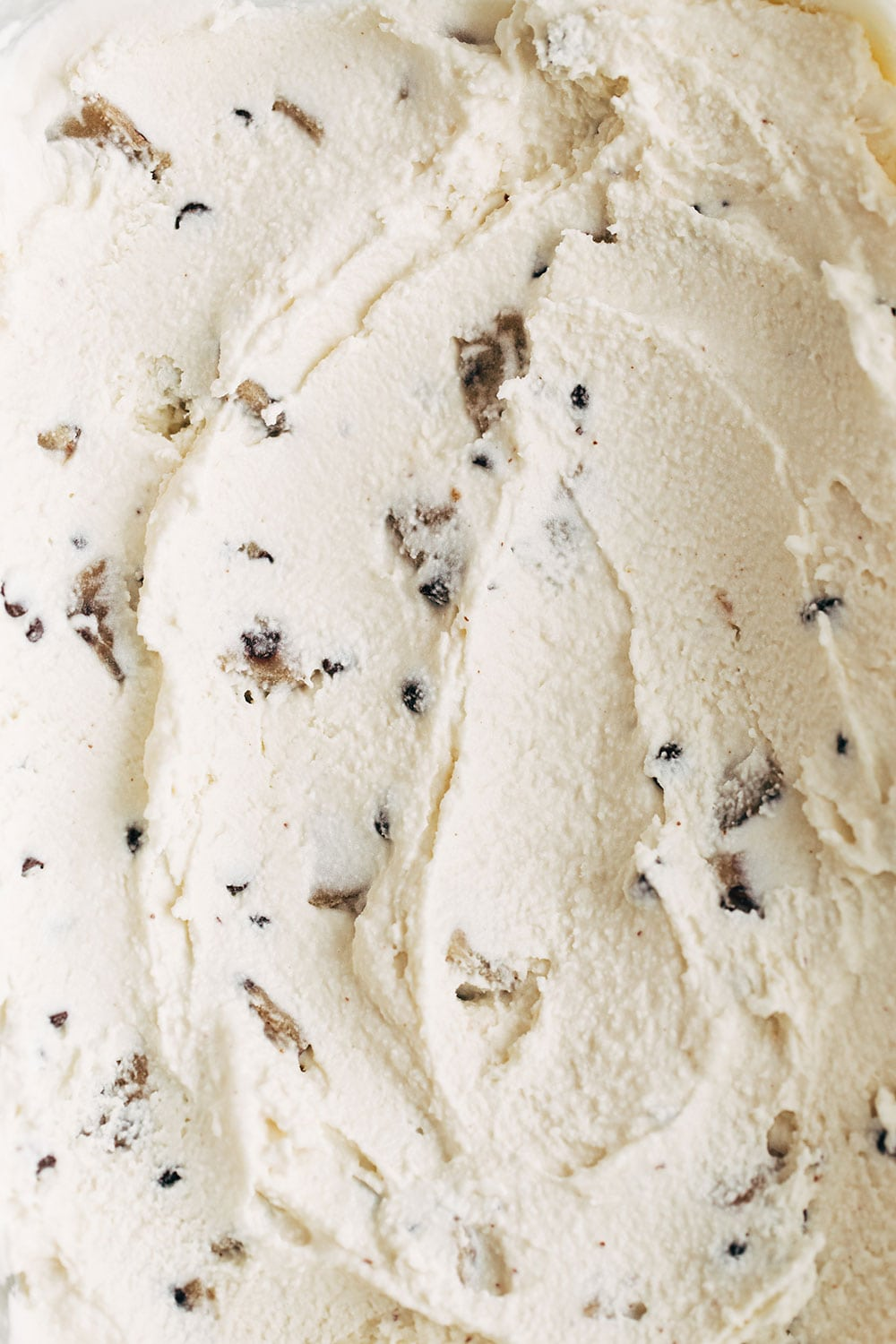 Rich and creamy chocolate chip cookie dough ice cream with spoon