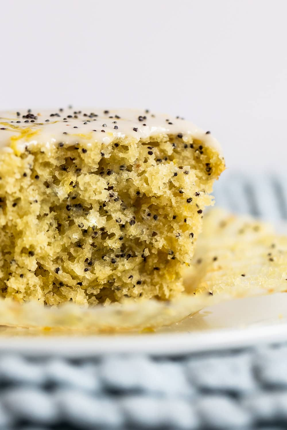 up close look of moist and tender lemon poppyseed muffin interior texture