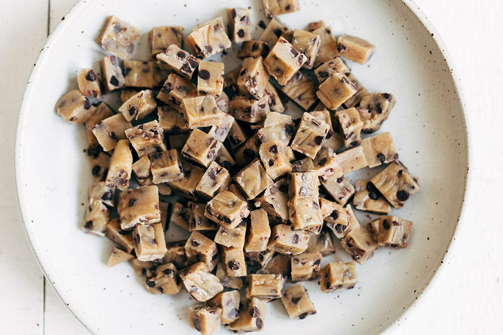 Safe and edible chocolate chip cookie dough cut into chunks for ice cream
