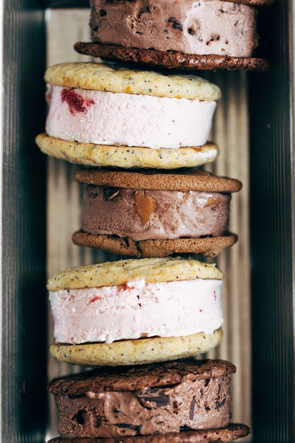 loaf pan filled with ice cream sandwich varieties