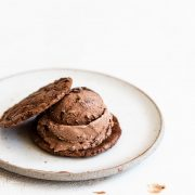 Assembling a brownie mudslide ice cream sadnwich