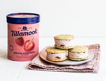 Strawberry lemon ice cream sandwiches