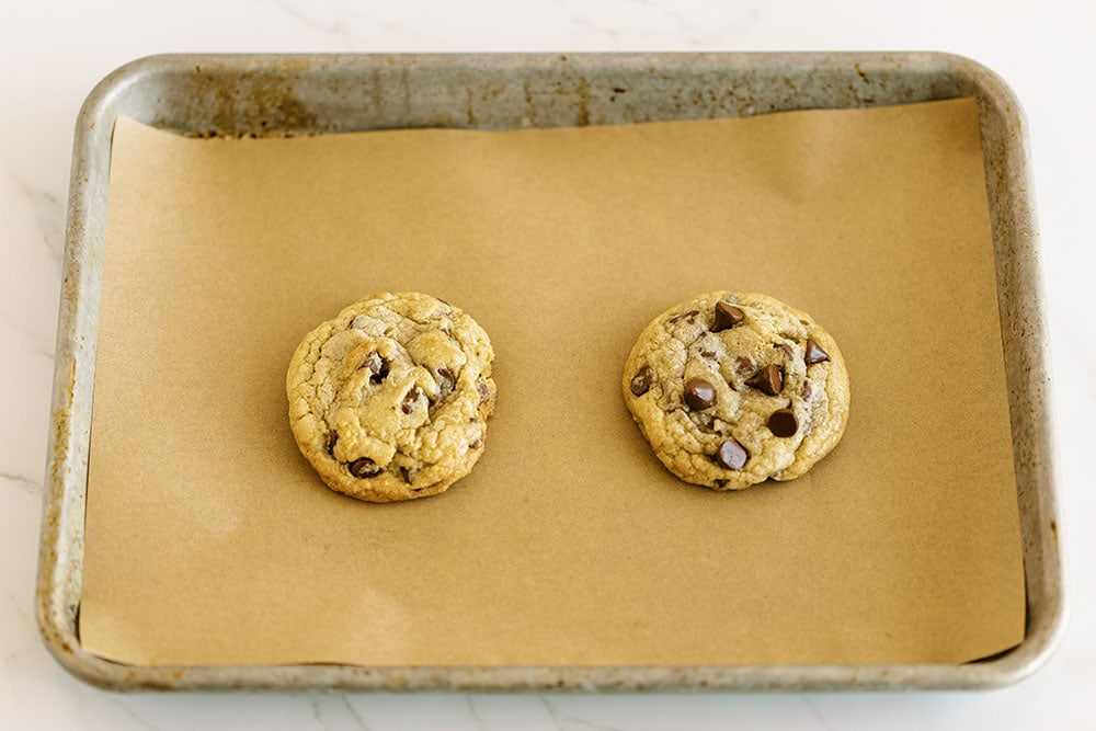 Cookie baked without pro tips vs with pro tips