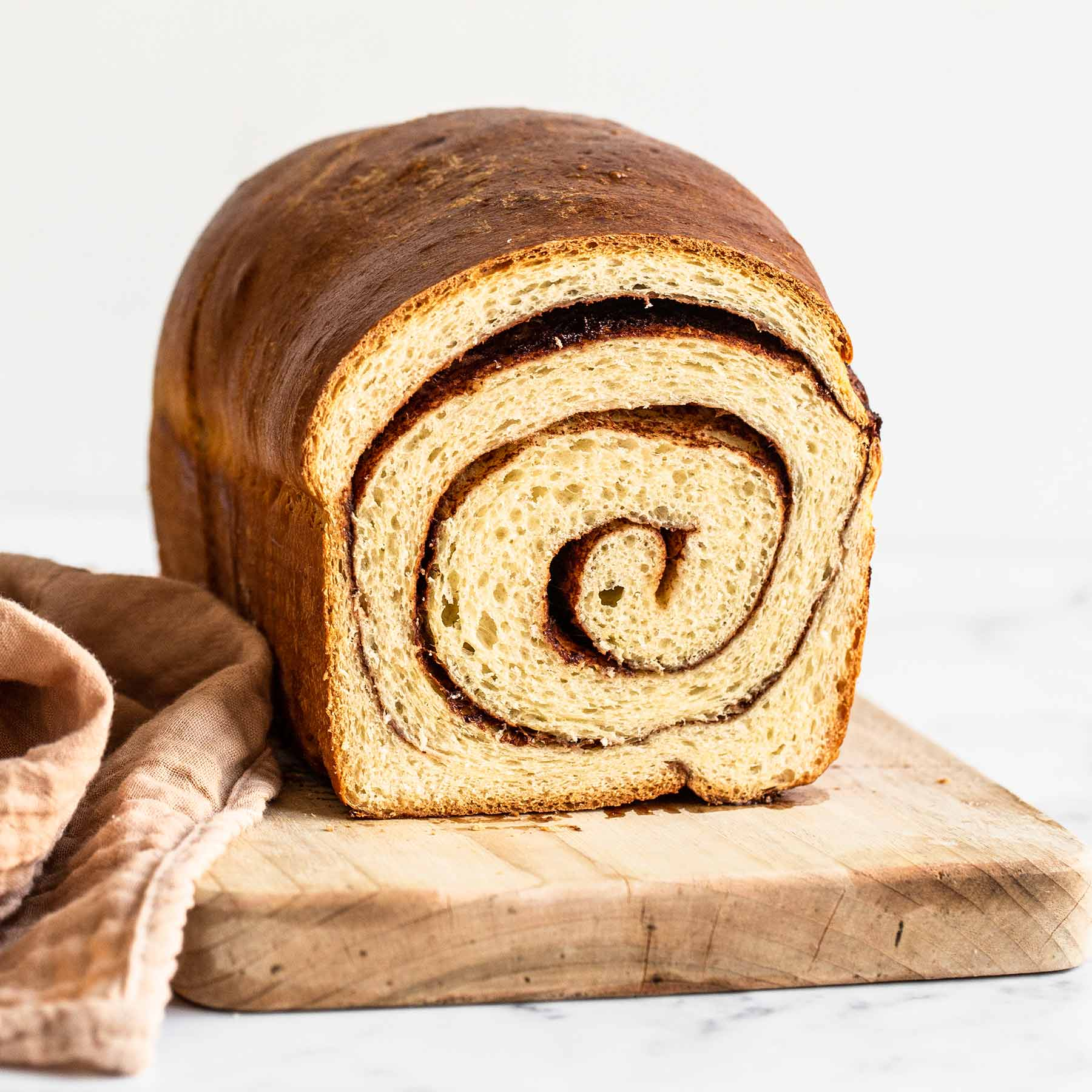 Loaf of homemade cinnamon swirl bread