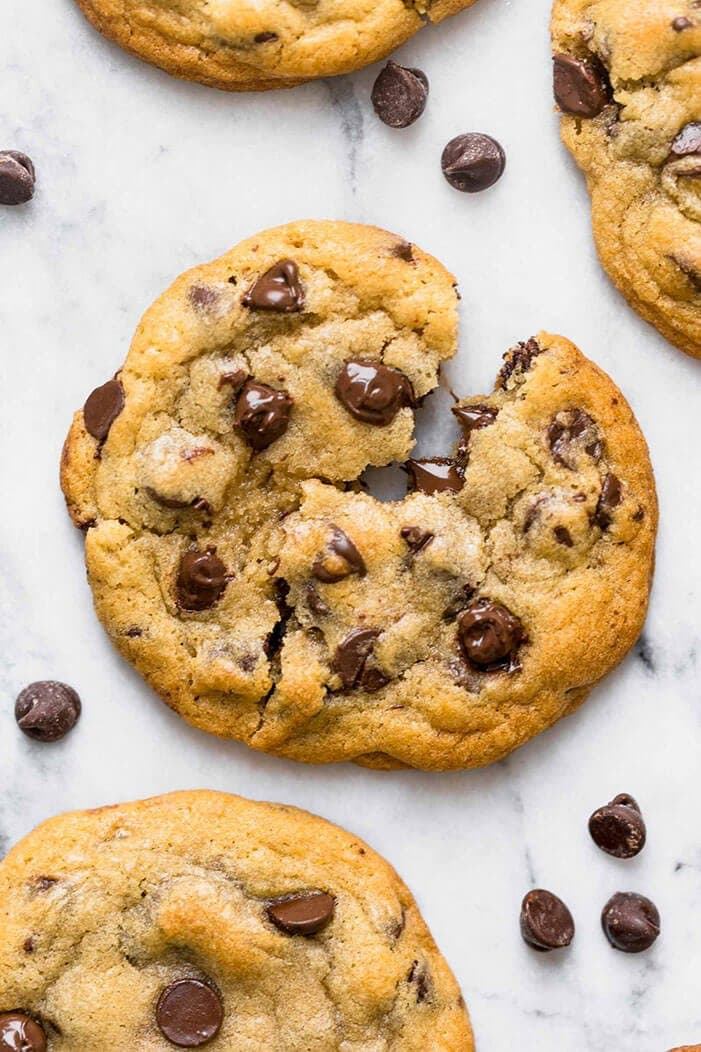 Overhead shot of easy chocolate chip cookie recipe