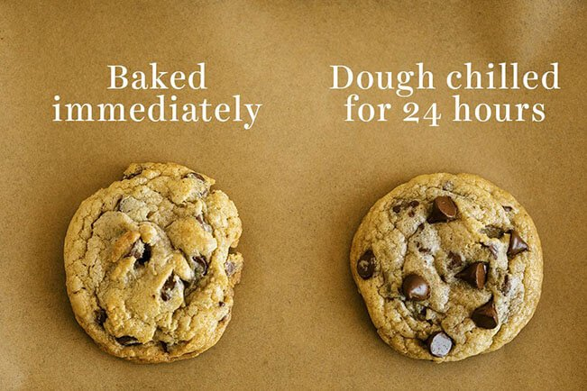 comparison of chocolate chip cookies baked immediately vs chilled
