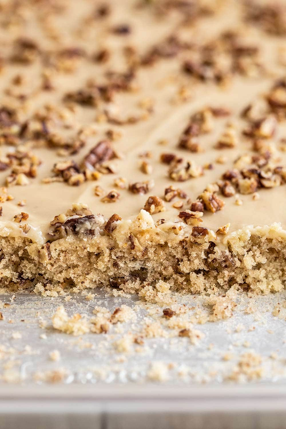 slab of butter pecan sheet cake