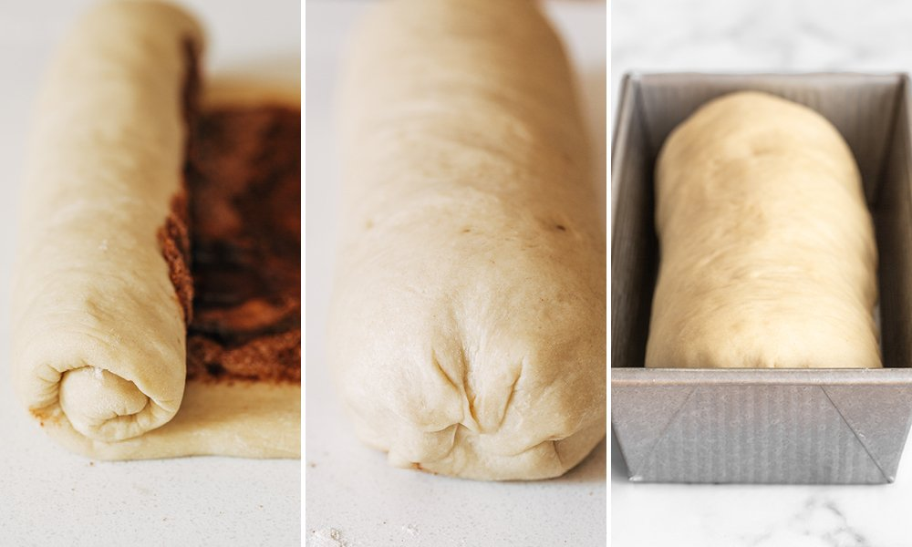 process shot showing how to make yeast raised cinnamon swirl bread