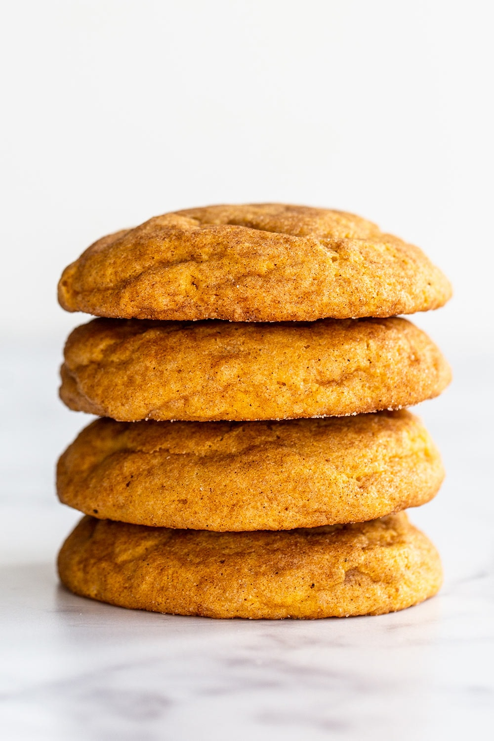 stack of pumpkin snickerdoodle cookies
