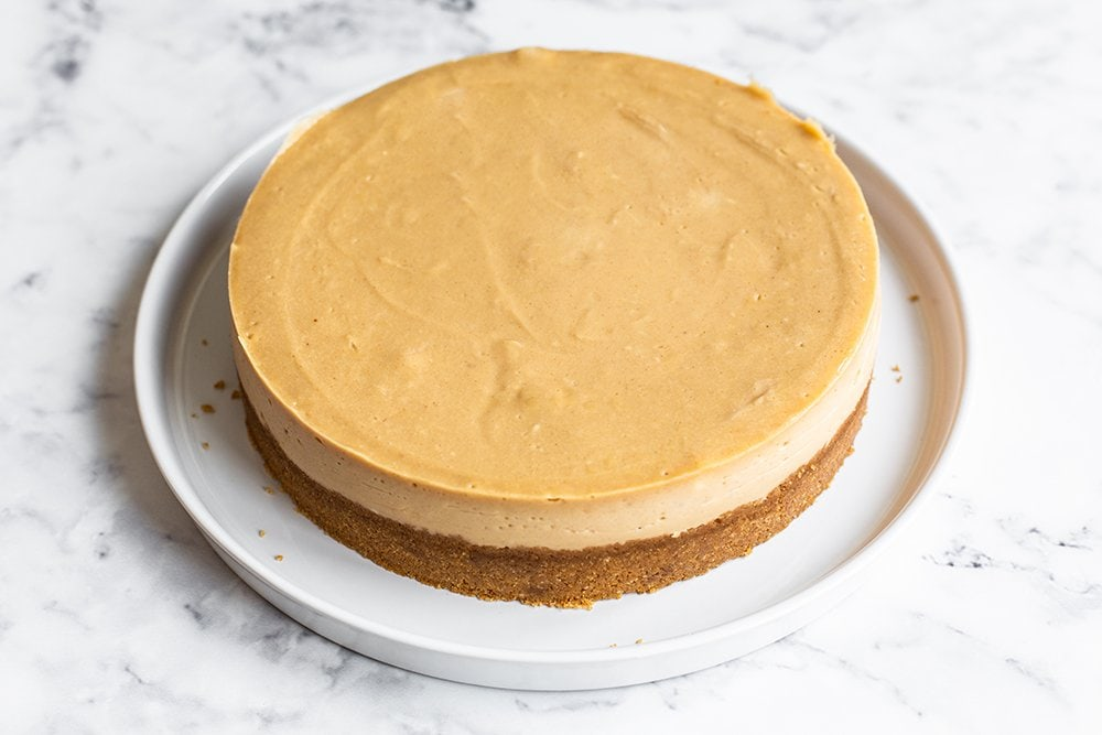 shot of creamy peanut butter cheesecake with no cracks