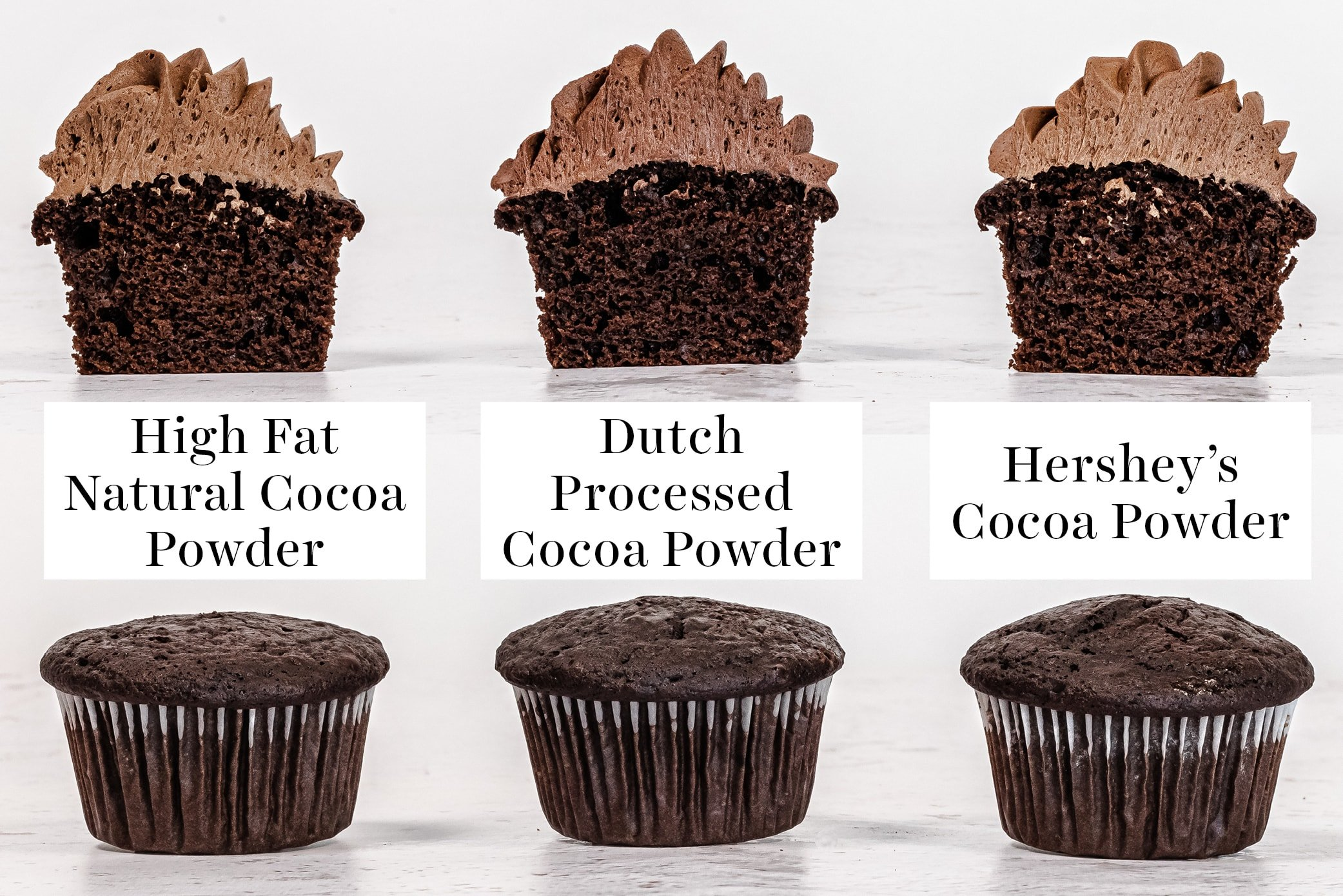 cupcake comparison of cupcakes baked with different types of cocoa powder