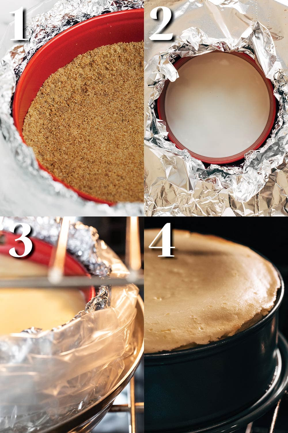 step by step process for baking a cheesecake with a water bath