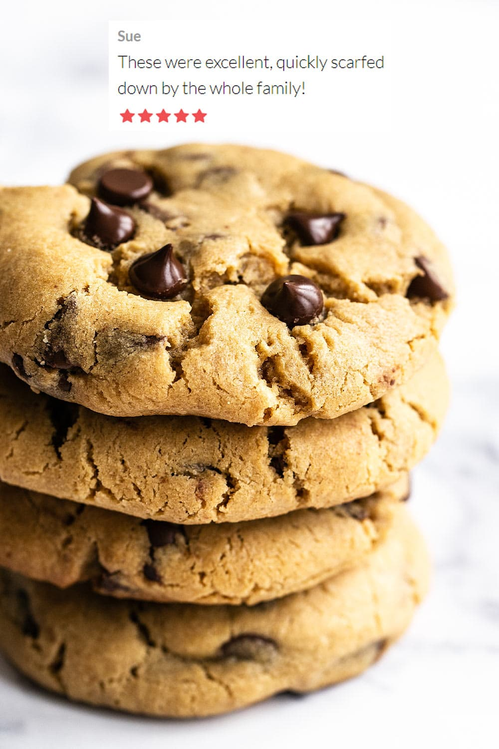 homemade peanut butter chocolate chip cookies stacked