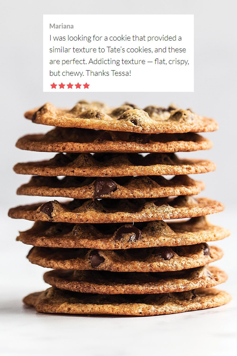 thin and crispy chocolate chip cookies stacked