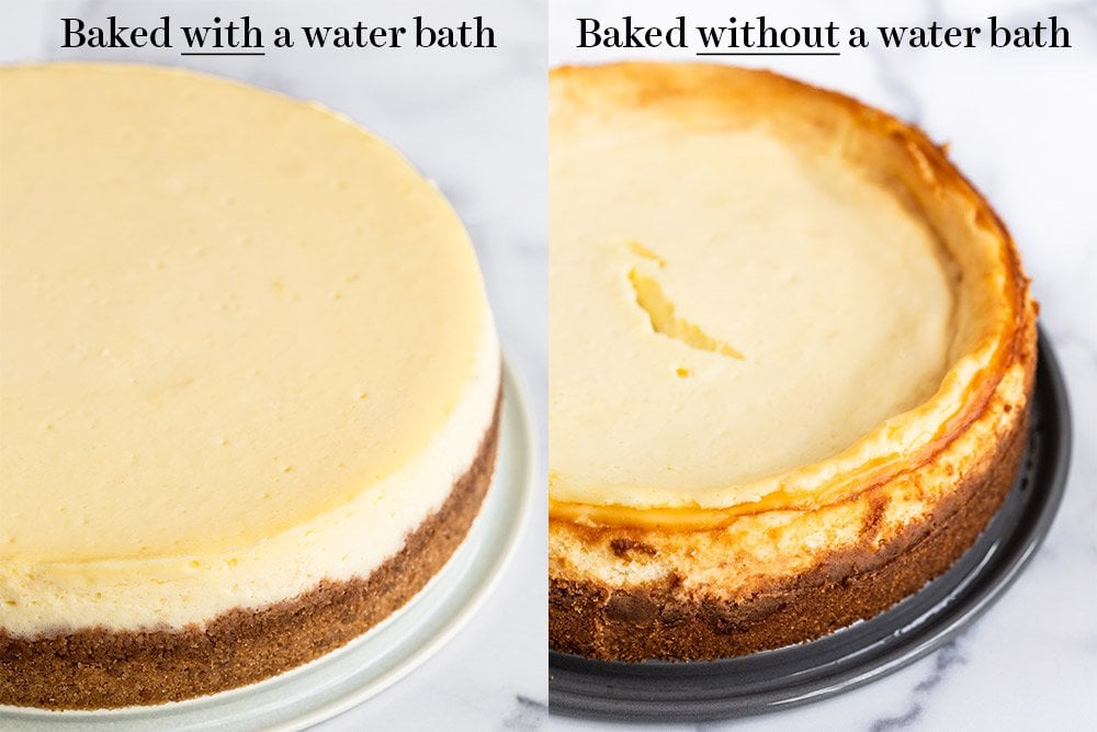 side by side comparison of cheesecakes baked with and without water baths