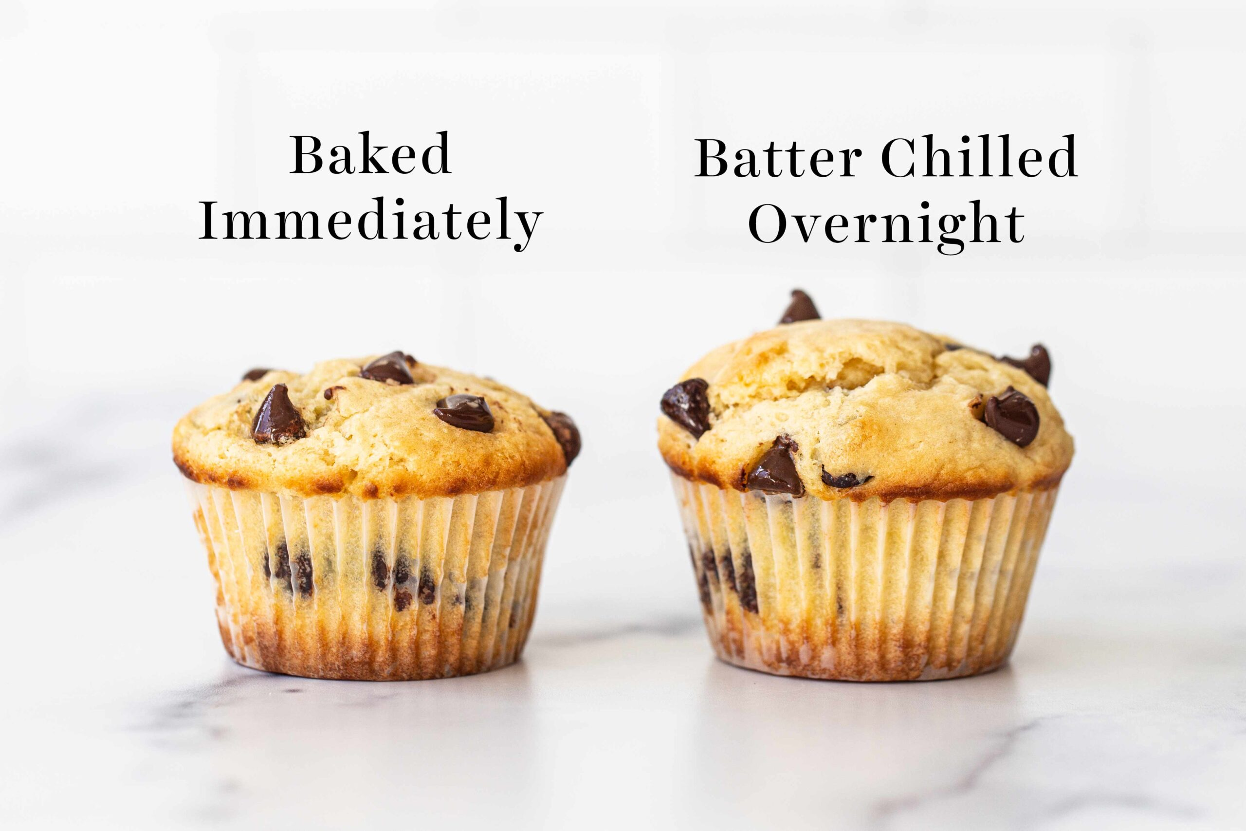 comparison of muffin batter rested vs baked immediately