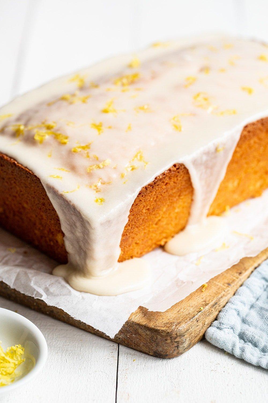 homemade lemon pound cake with a glaze on top