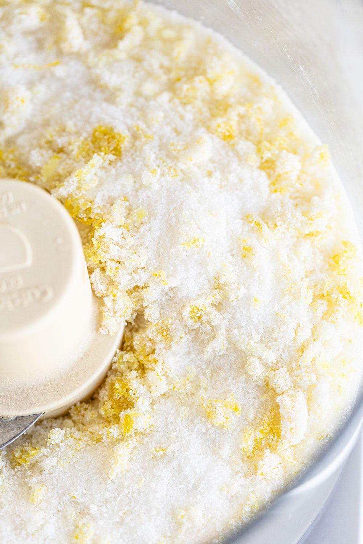 sugar in a processor for homemade lemon pound cake loaf