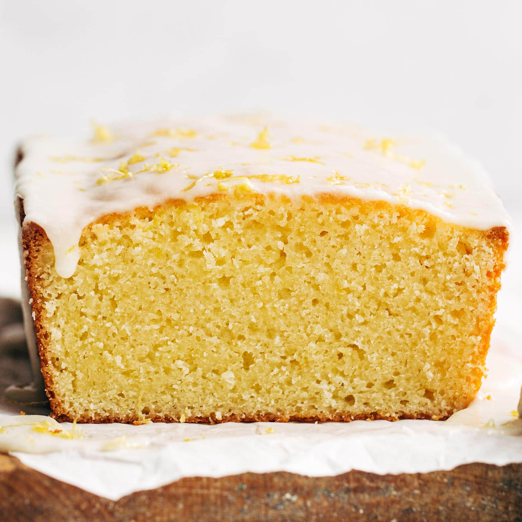 homemade lemon pound cake loaf with icing on top