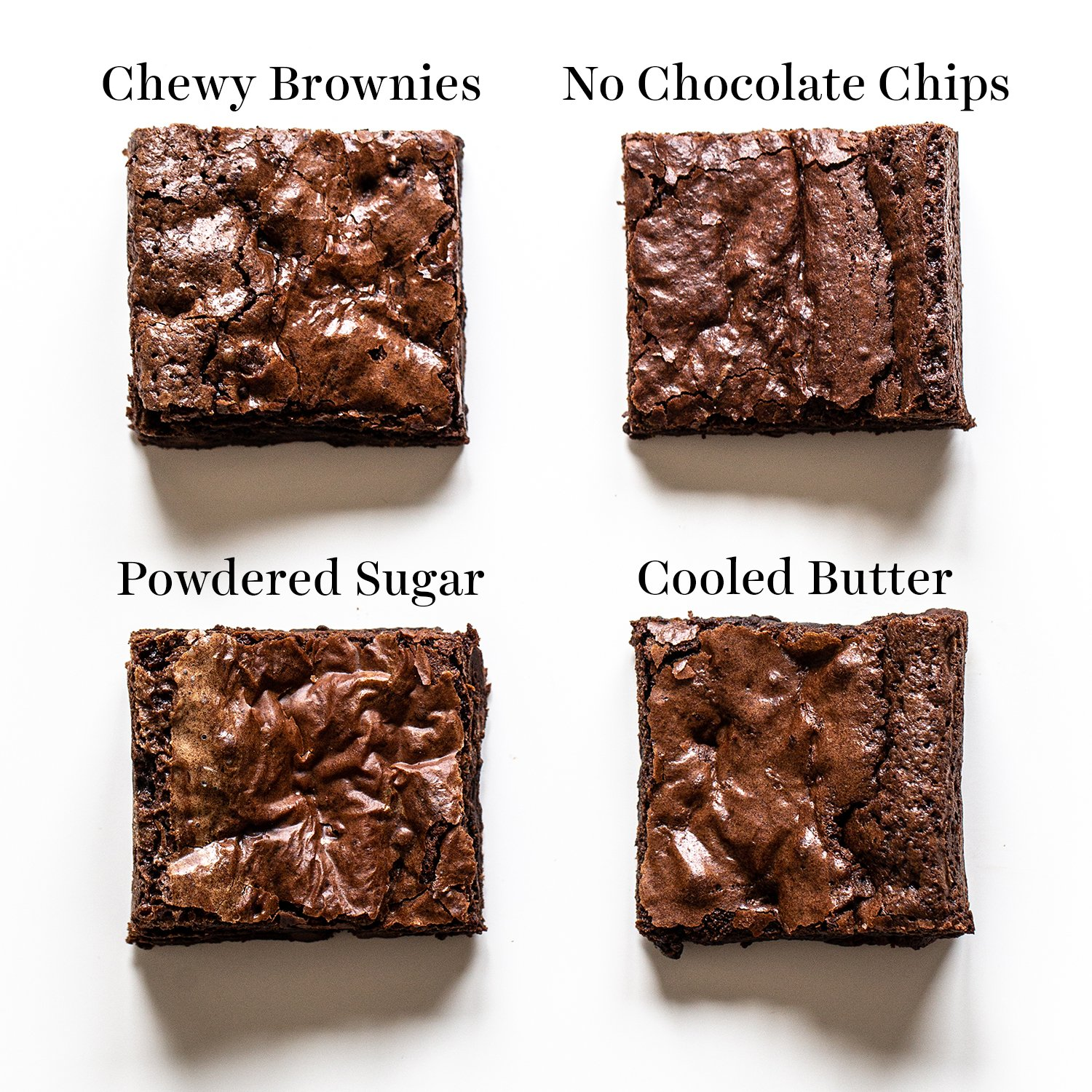 overhead shot of slices of chewy brownies, no chocolate chip brownies, powdered sugar brownies, and cooled butter brownies