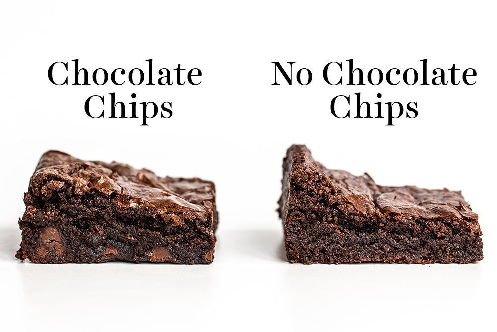slices of chocolate chip brownies and no chocolate chip brownies
