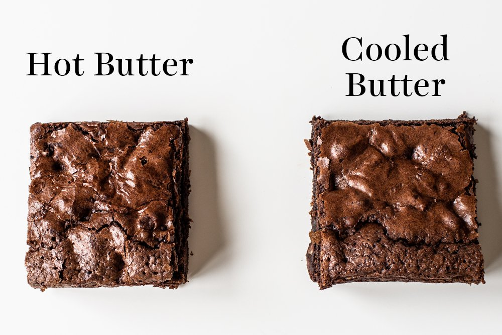 overhead shot of crinkly crusts on hot butter vs cooled butter brownies