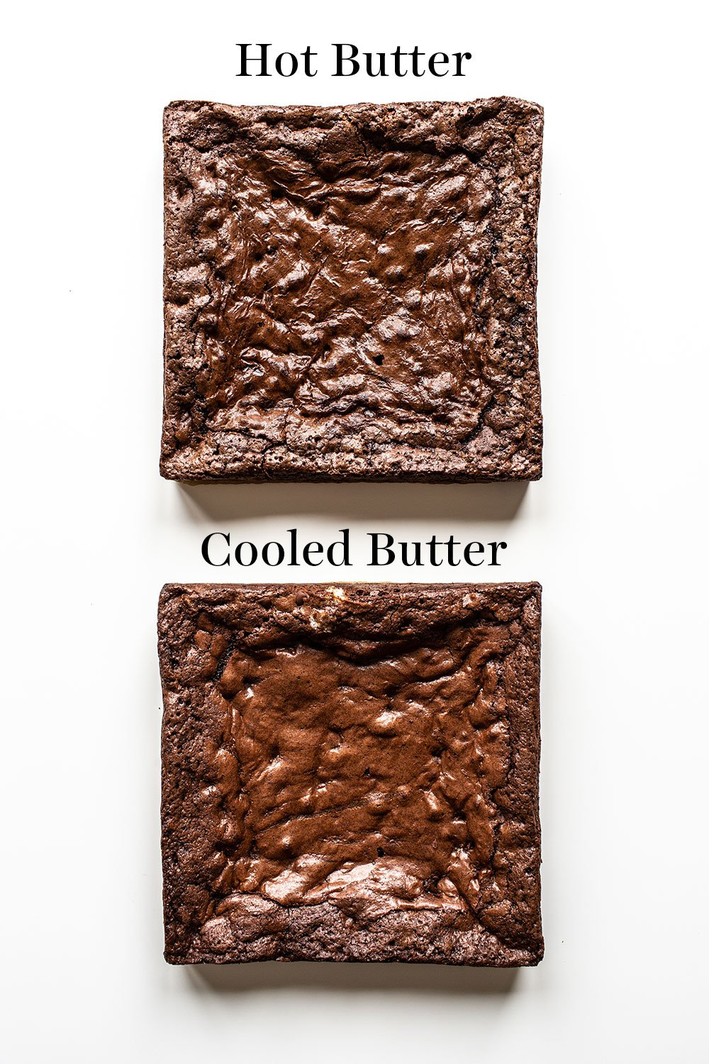 comparison of hot butter vs cooled butter brownies