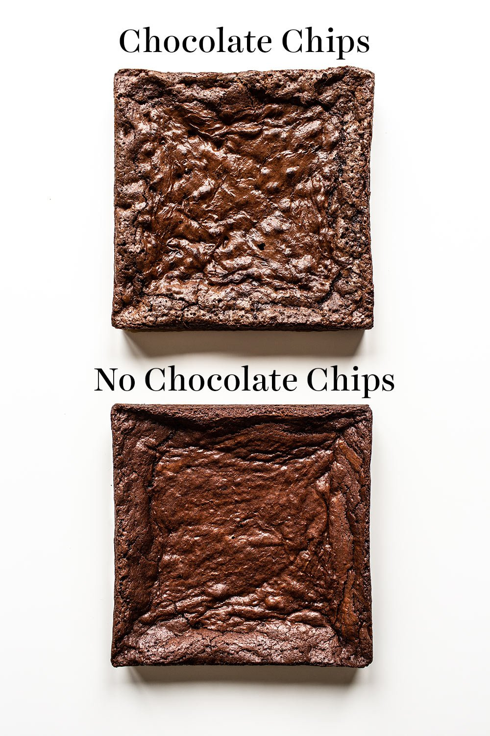 crinkly crust comparison of chocolate chip brownies and no chocolate chip brownies