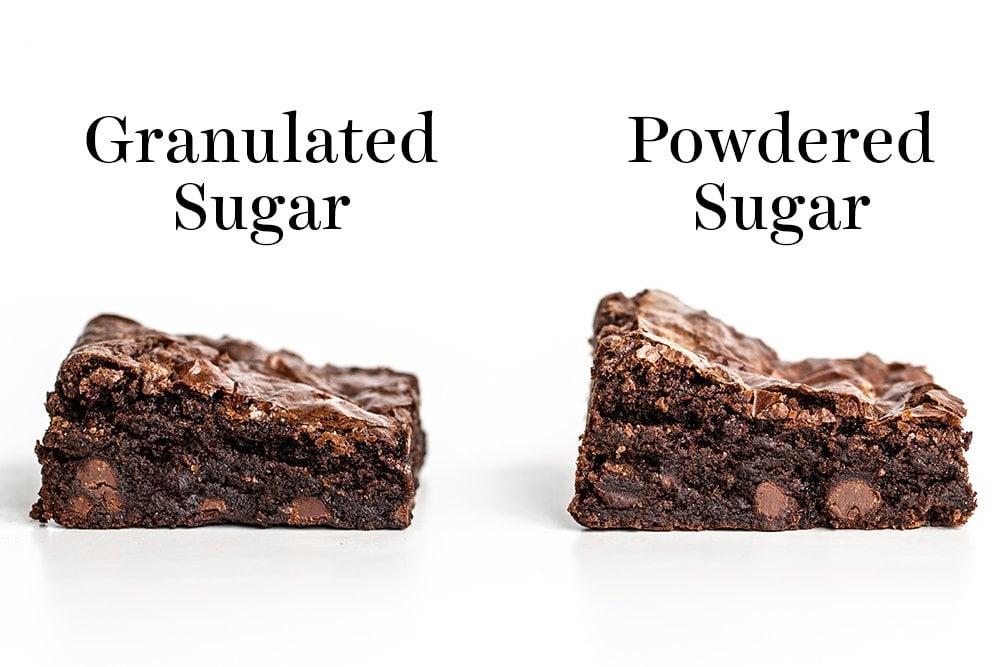 eye level comparison of granulated sugar vs powdered sugar brownies