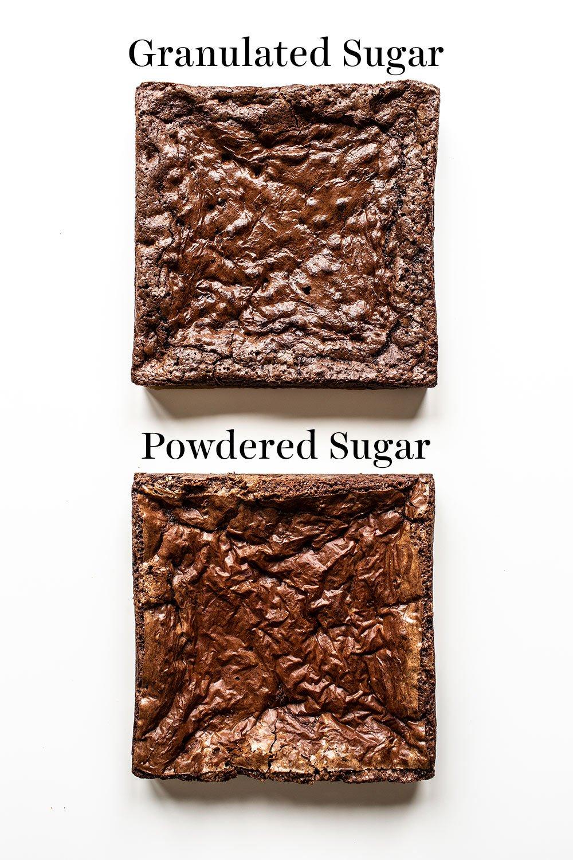 comparison of granulated sugar vs powdered sugar brownies