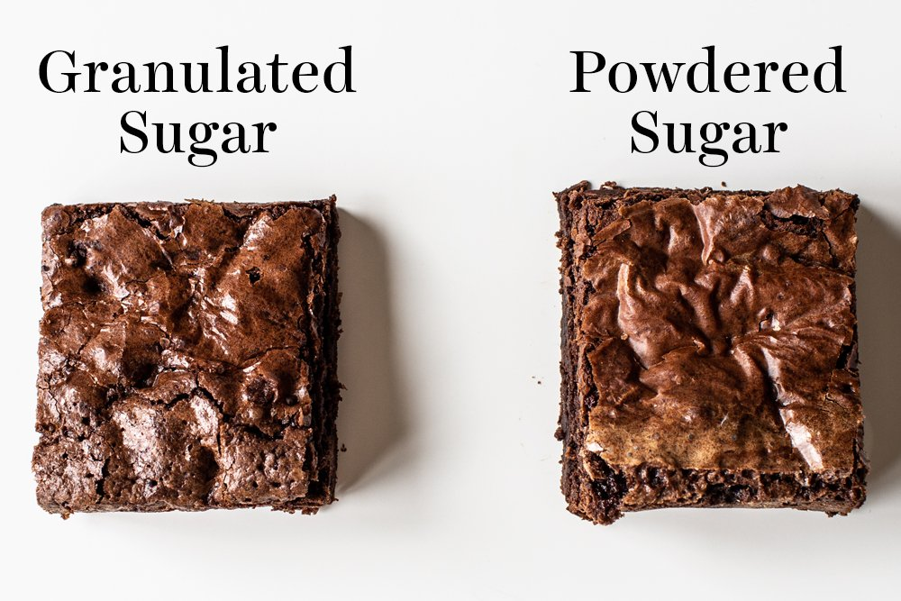 comparison of brownie slice crusts of granulated sugar vs powdered sugar brownies