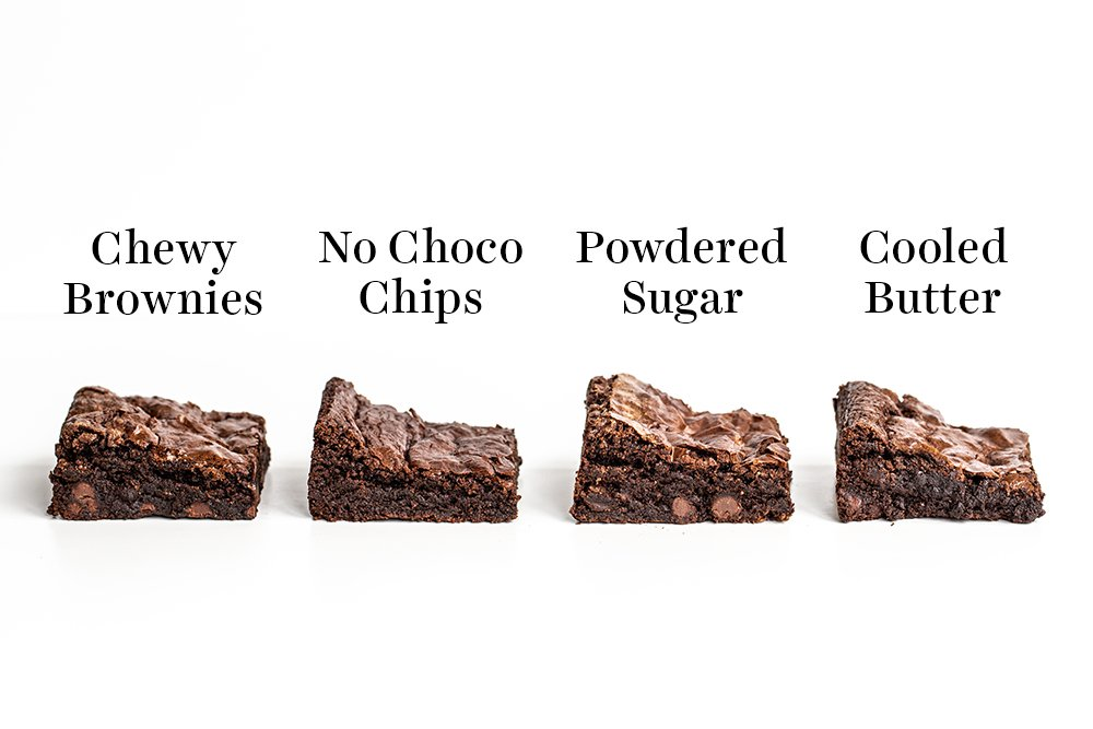 slices of chewy brownies, no chocolate chip brownies, powdered sugar brownies, and cooled butter brownies