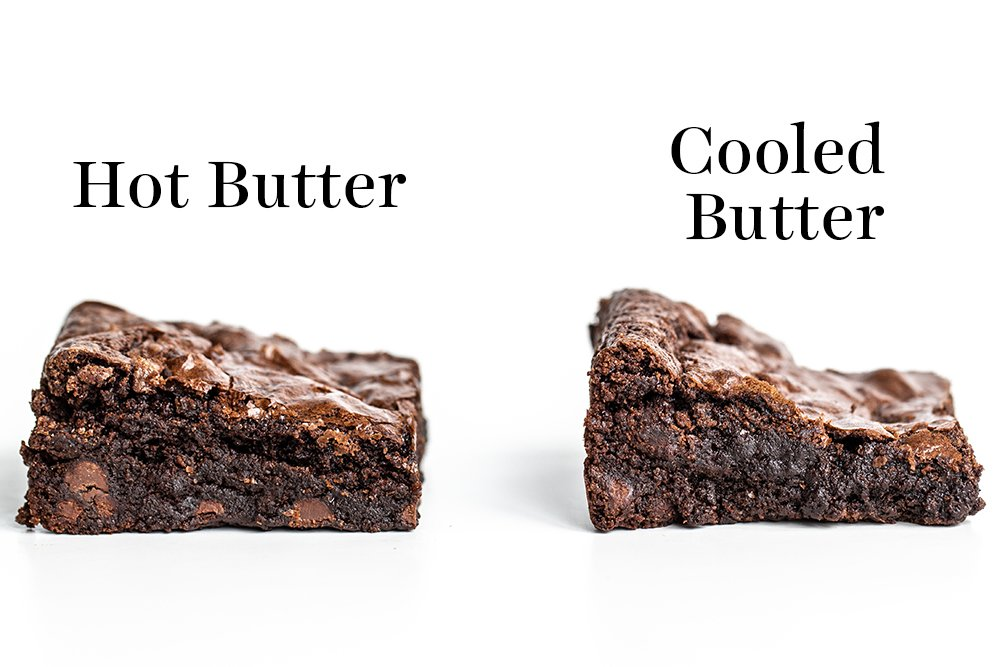 comparison of brownie slices made with hot butter vs cooled butter