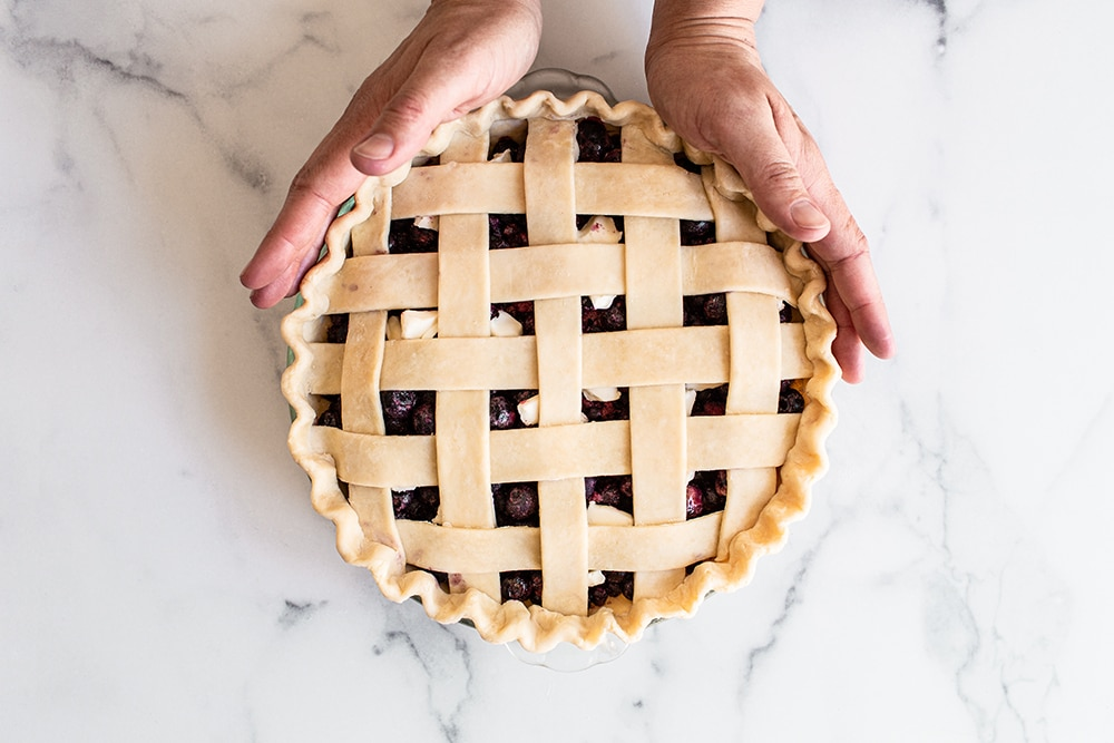 homemade blueberry pie with picture perfect lattice pie crust