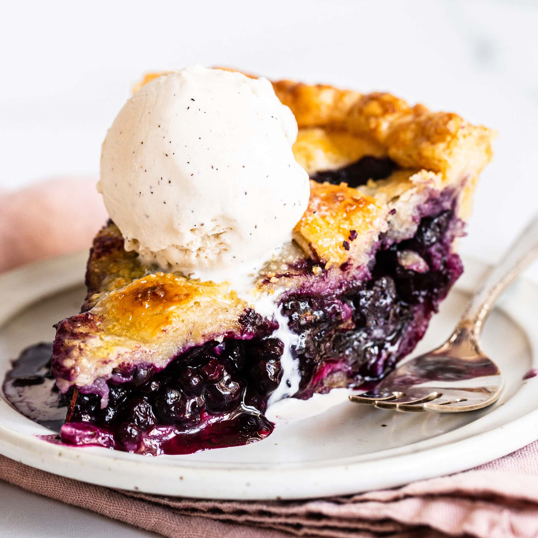 slice of homemade blueberry pie and a scoop of vanilla ice cream on top